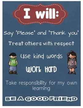 I will….  respect, kind, work hard……..Poster