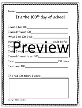 """I wish I had 100..."" 100th day of school activity"