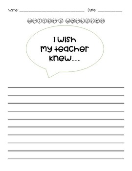 I Wish My Teacher Knew Worksheets & Teaching Resources | TpT