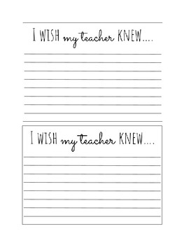 I wish my teacher knew Exit Slip Template