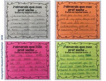 J'aimerais que mon, ma prof sache (I wish my teacher knew - in French)