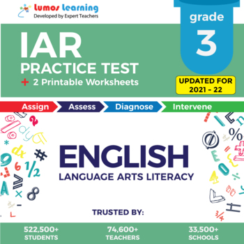 IAR Test Prep Language Arts - IAR Practice Test & Worksheets Grade 3 ELA