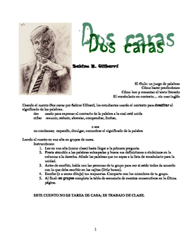 "IB/AP Spanish 4 and 5 ""Dos caras"" story with comprehension"