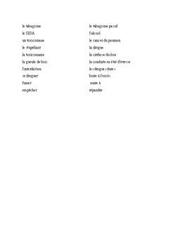 IB/Advanced French Vocabulary Lesson - La Sante