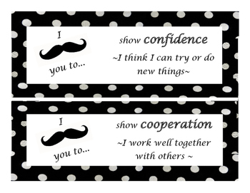 IB Attitudes- mustache with polka dot theme