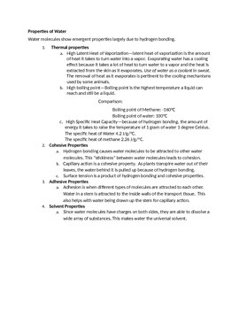 IB Biology 2016 Curriculum 2.2 Water Student Notes or Study Packet