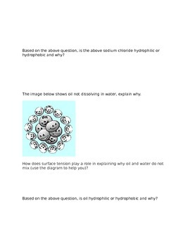 IB Biology 2016 Curriculum 2.2 Water Worksheet