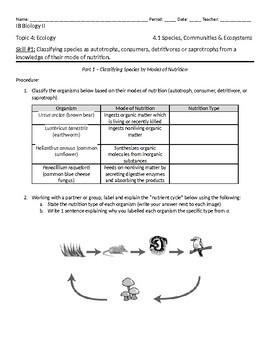 IB Biology: Ecology 4.1 Skill #1 Activity