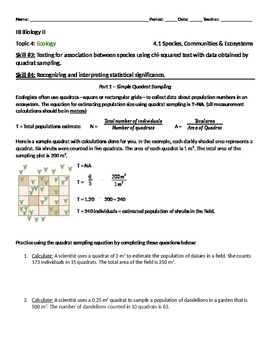 IB Biology: Ecology 4.1 Skills #3 & 4 Activity