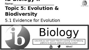 IB Biology Evolution 5.1 Video Lecture Student Handout (video link below)