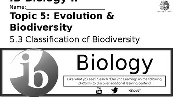 IB Biology Evolution 5.3 Video Lecture Student Handout (video link below)