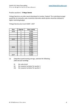 IB Business Management 4.3 Sales Forecasting - 3 Year/Point moving average - HL