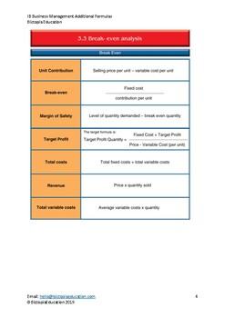 IB Business Management - Additional Formulas - NOT in formula booklet