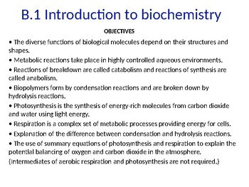 IB Chemistry PPT Option B Biochemistry B.1 to B.10
