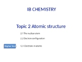 IB Chemistry PPT Topic 2 Atomic structure 2.1 2.2 12.1
