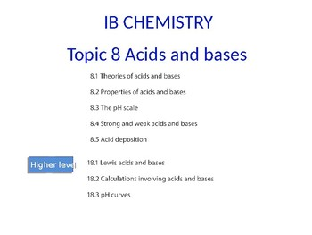 IB Chemistry PPT Topic 8 Acids and bases 8.1 to 8.4 18.1 to 18.3