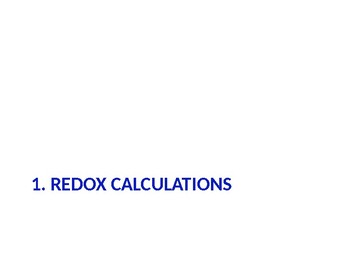 IB Chemistry PPT Topic 9 Redox processes 9.1 to 9.2 19.1