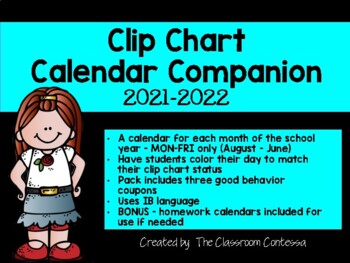 IB Classroom Clip Chart Calendar Companion - Updated for 2016/2017
