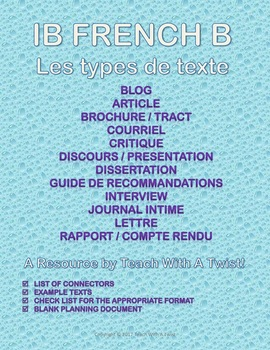 IB DP French B / AP French - Text types  - 12 types de texte (Word+pdf versions)