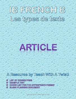 IB DP French B / AP French - Text types  - ARTICLE