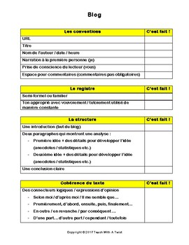 IB DP French B / AP French - Text types  - BLOG
