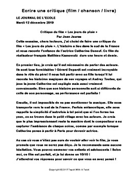 IB DP French B / AP French - Text types  - CRITIQUE (film / chanson / livre)