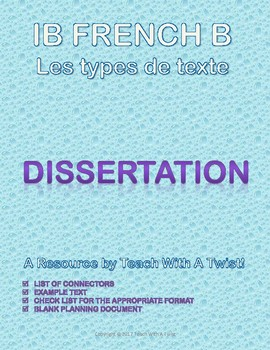 IB DP French B / AP French - Text types  - DISSERTATION