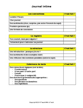 IB DP French B / AP French - Text types  - JOURNAL INTIME