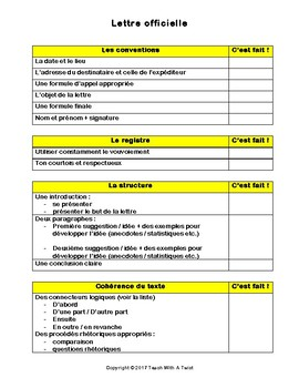 IB DP French B / AP French - Text types  - LETTRE