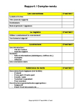 IB DP French B / AP French - Text types  - RAPPORT / COMPTE RENDU