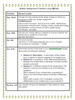 IB DP Language Ab initio Written Assignment Timeline