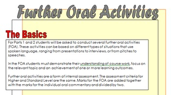 IB - DP Language and Literature - Further Oral Activity As