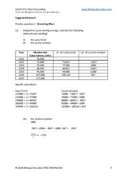 IB Diploma Business Management 4.3 HL Sales Forecasting
