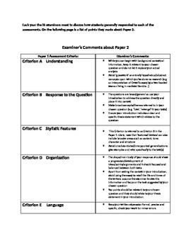 IB English Language and Literature: Mock Exam Papers 1-2 Prep Sheet