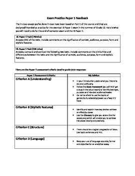 IB English Language and Literature: Mock Exam Papers 1-2 P