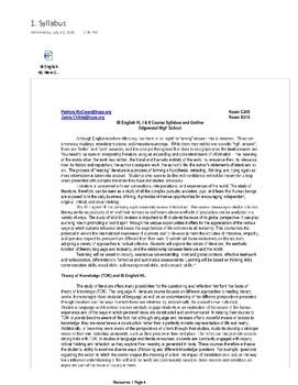 IB English Literature HL New Curriculum: Learner Portfolio Resource Part 1 PDF