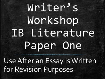 IB English Paper 1 / Paper One Writer's Workshop for a Poetry Commentary