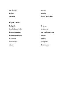 IB French Vocabulary - Environnement en Question, Pearson Francais B