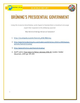 IB History - Bruning's Presidential Government