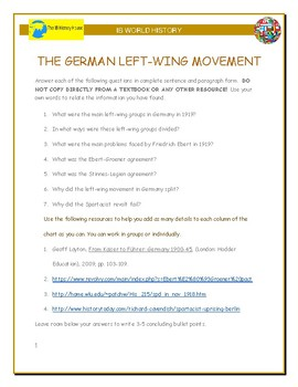 IB History - Germany's Left Wing in 1919