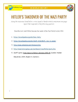 IB History - Hitler's Takeover of the Nazi Party