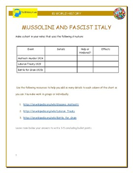IB History - Mussolini's Consolidation of Power
