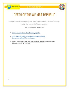 IB History - The Death of the Weimar Republic
