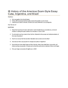 Latin American Revolutions: Exam Style Essay Questions and Rubric