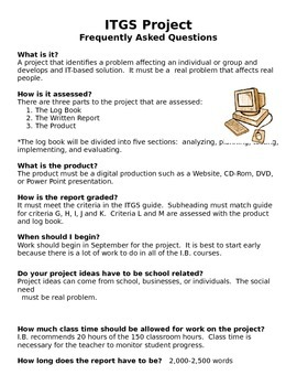 IB ITGS Internal Assessment Instructions/Directions