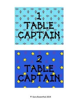 IB Table Captain Cards