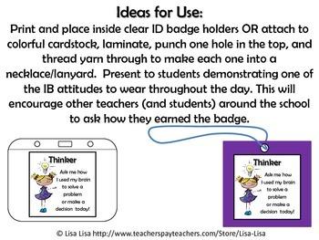 IB Learner Profile Attribute Badges