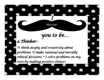 IB Learner Profile Attributes mustache theme with polka dots