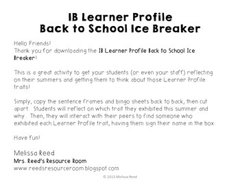 IB Learner Profile Back To School Ice Breaker