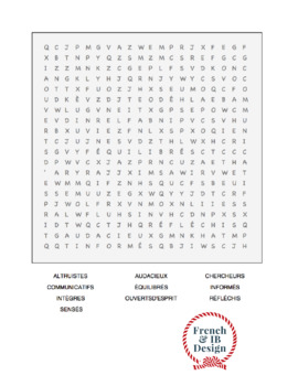IB Learner Profile French Word Search - Profil de l'apprenant IB mots mêlés FR